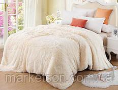 Одеяло покрывало травка с наполнителем холлофайбер меховое с длинным ворсом 210*230 Шампань