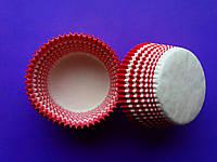 Тарталетки (капсулы) бумажные для кексов, капкейков красные с белым