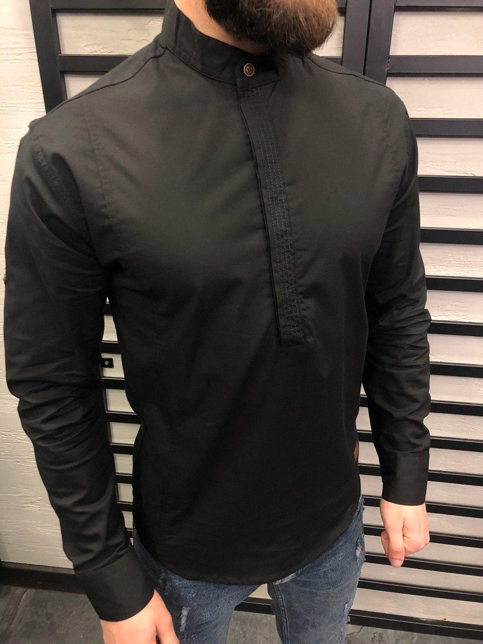 9e24df980d4 Мужская Рубашка Из Хлопка Без Пуговиц (черная) — в Категории ...