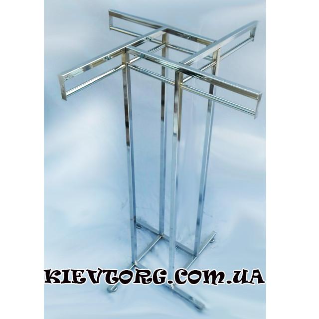 Стойка - вешалка  (островок) напольная хромированная, оборудование для магазина одежды