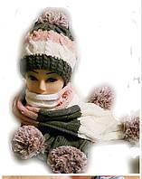 """Шапка+шарф комплект""""Бубоны"""" зима."""