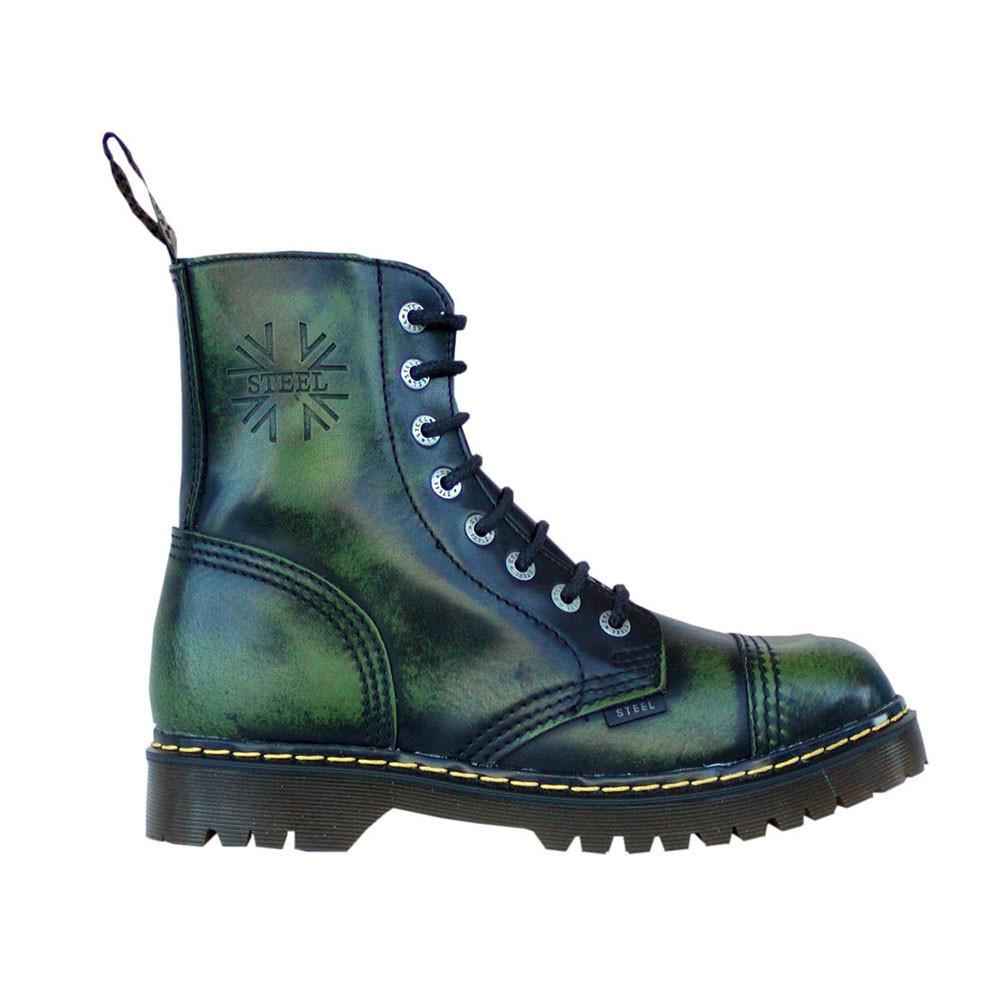 Средние ботинки Steel зеленые с эффектом затертости 8 дырок 113-114/AL-KEN/GRN/B