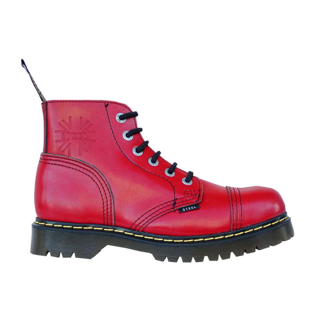 Средние ботинки Steel красные 6 дырок 127-128/AL-KEN/FULL RED