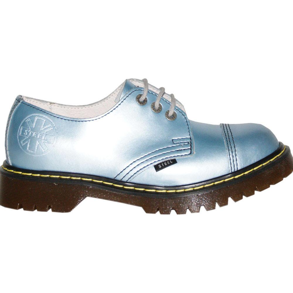 Женские ботинки голубые Steel limited-edition 3 дырки 101/AL/D-33
