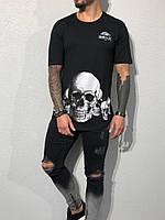Мужская черная футболка с черепом Black Island