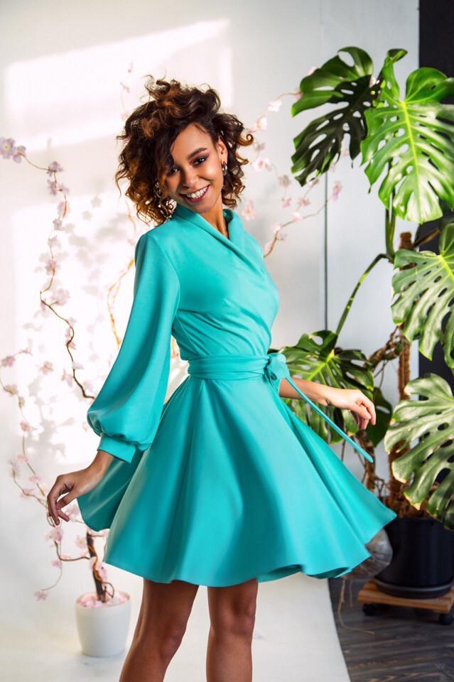 Шелковое платье с пышной юбкой 14ty2352
