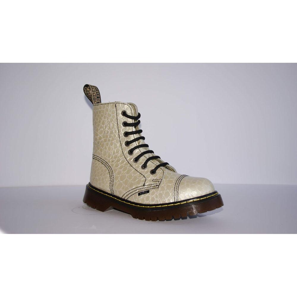 Зимние женские ботинки Steel с шерстью Limited Edition бежевые 8 дырок 113/AL/D-105