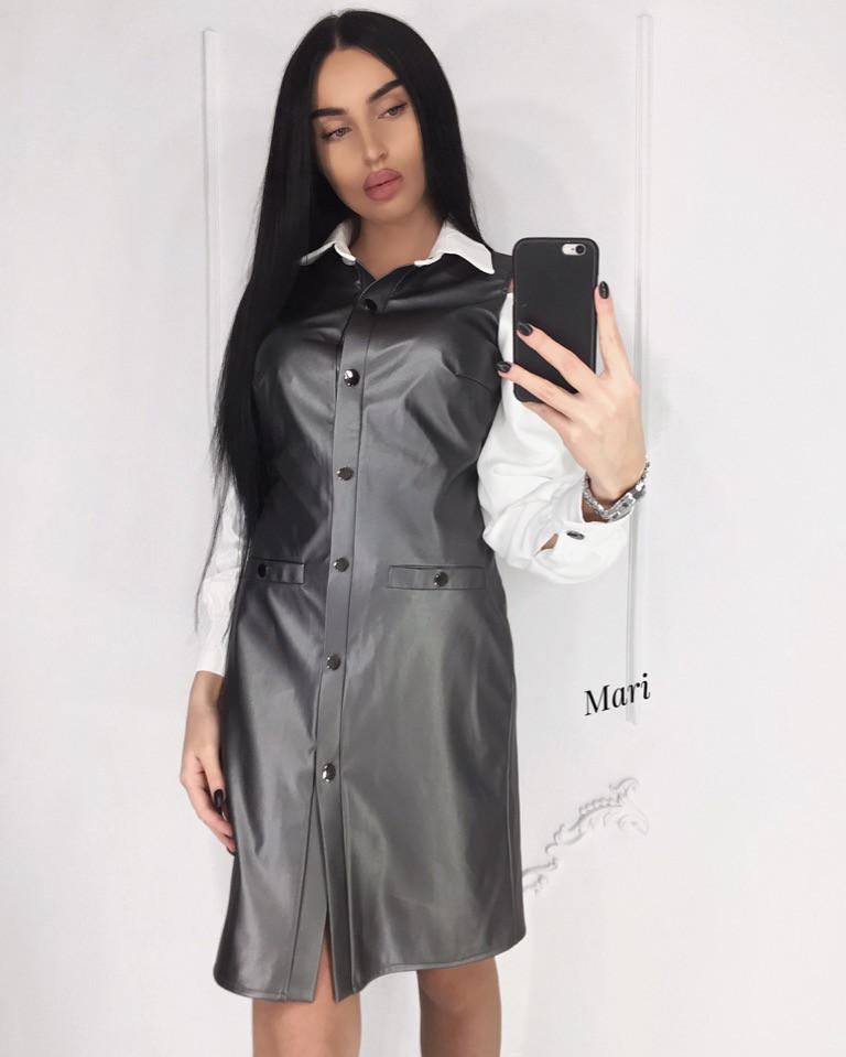 Кожаное платье-рубашка металлизированное 63ty2357