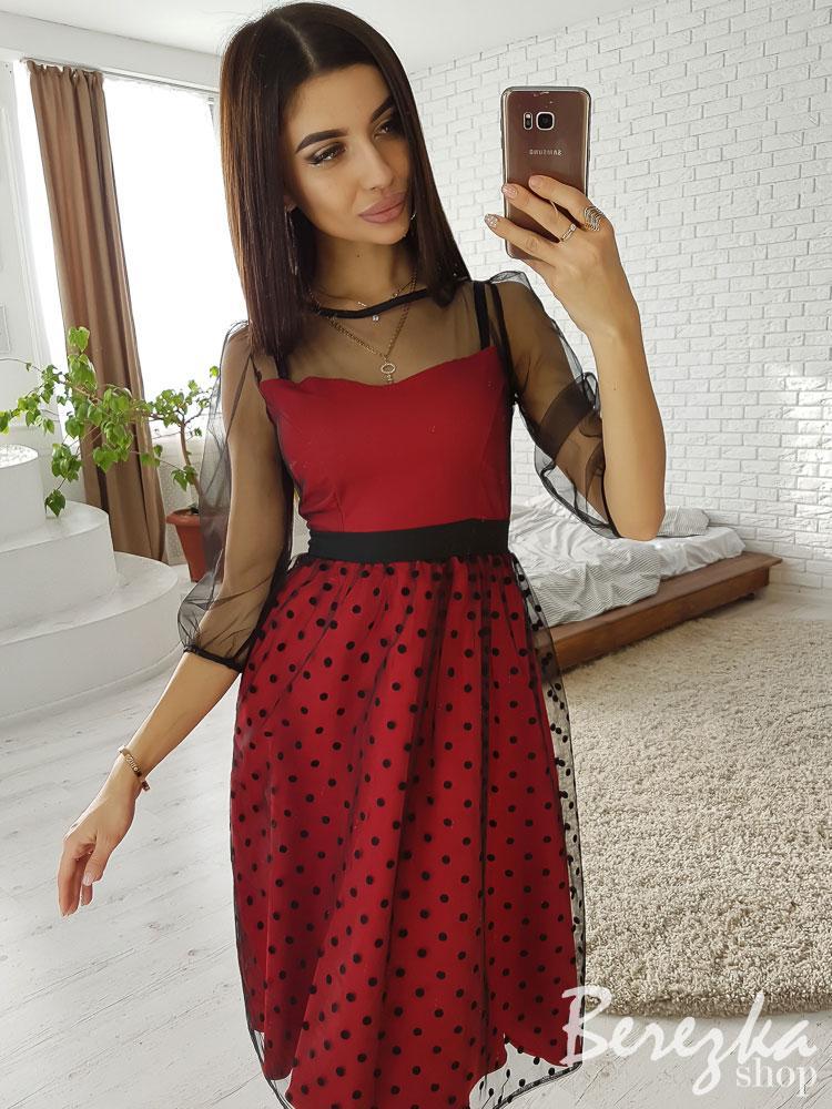 Платье с пышной юбкой и сеткой сверху 66ty2371