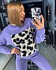 Женский вязаный костюм с леопардовым принтом 18st945, фото 3