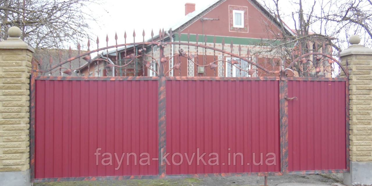 Ворота ковані закриті профнастілом 6380