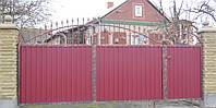 Ворота ковані закриті профнастілом 6380 , фото 1