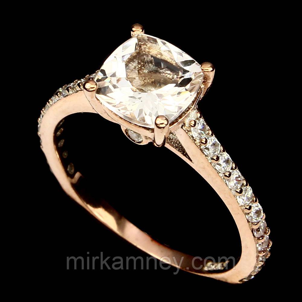 Кольцо натуральный камень морганит. Серебро, позолота. Размер 16,5