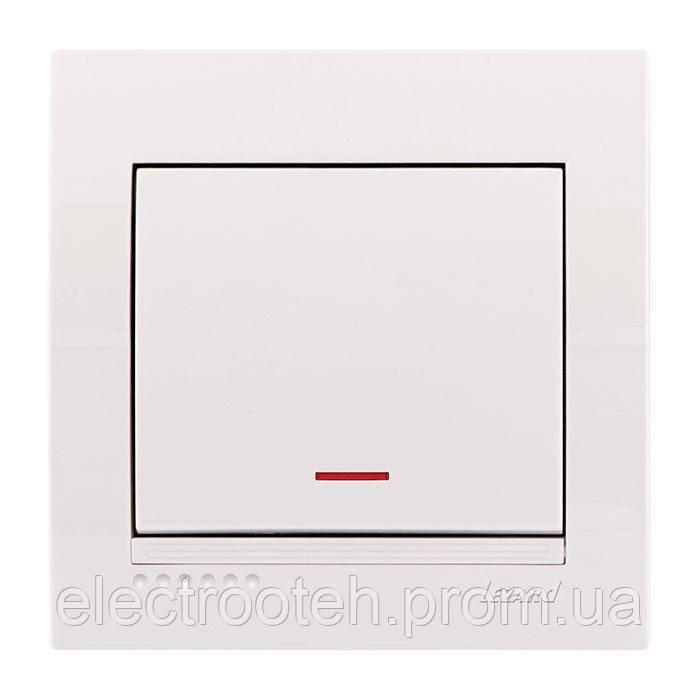 Вимикач білий з підсвіткою 1кл
