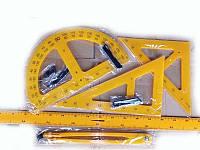 Набор для школьной доски (5 предметов: линейка 100см, угольники, циркуль, транспортир)