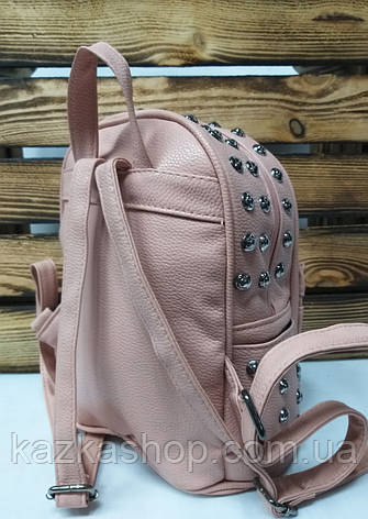 Женский рюкзак розового цвета из искусственной кожи с декоративными заклепками, фото 2