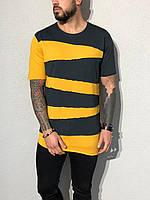Мужская желтая футболка с черными полосами