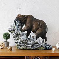"""Штоф со стопками """"Медведь"""" 40 х 30 см. Подарок мужчине, фото 1"""