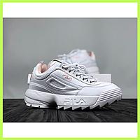 Женские кроссовки Fila Disruptor 2 White белые (Реплика ААА+ класса) 88f51f8c0f6f0