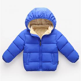 Куртка детская на мальчика синяя весна осень на меху 4 года
