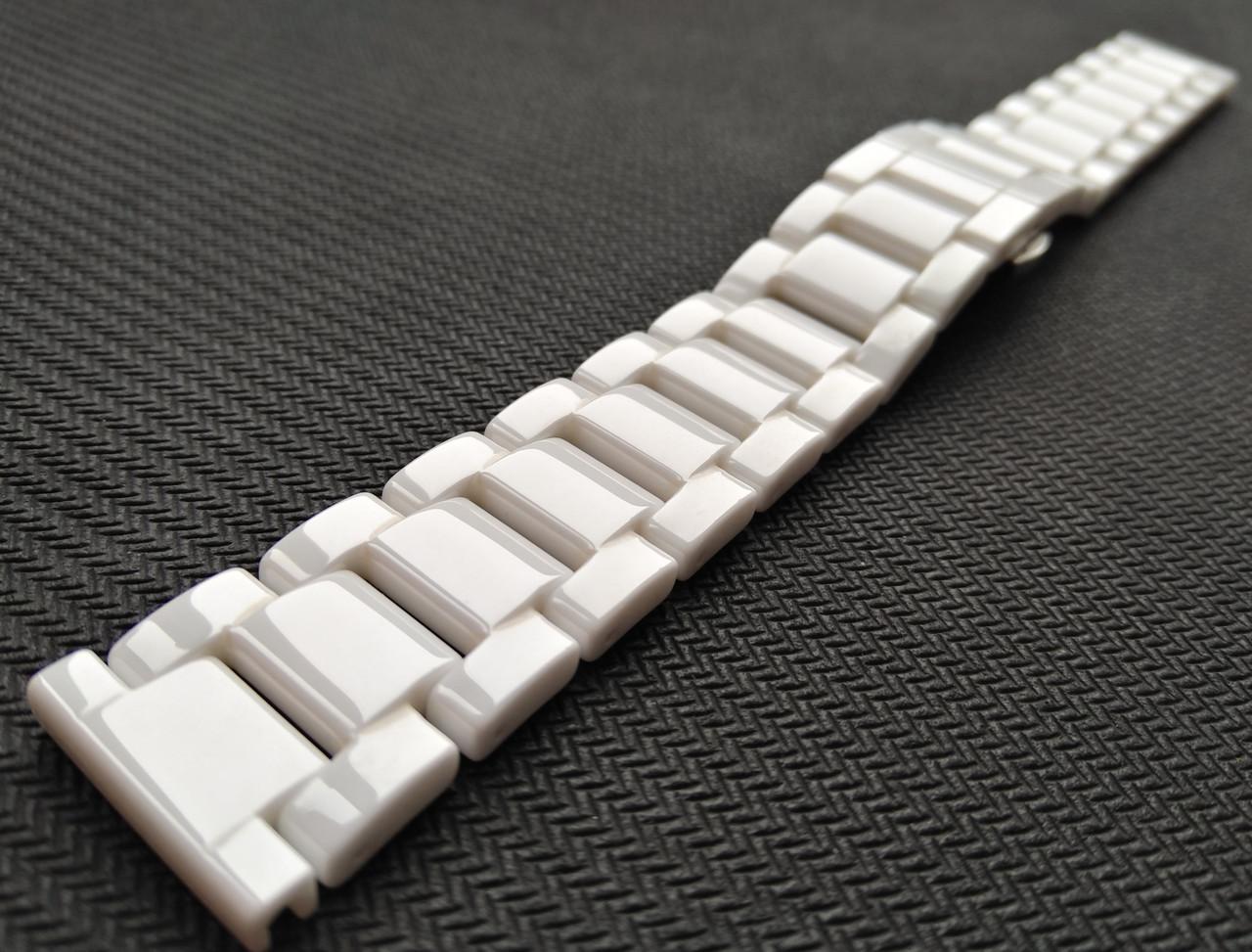 Браслет для часов, керамический. Белый. 20 мм
