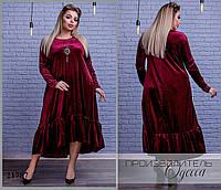 Платье 4084 бархатное свободного покроя R-21787 бордовый