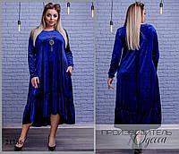 Платье 4084 бархатное свободного покроя R-21786 синий