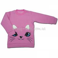 Толстовка, свитшот для девочки от 2 - х до 6- ти лет с мордочкой кота