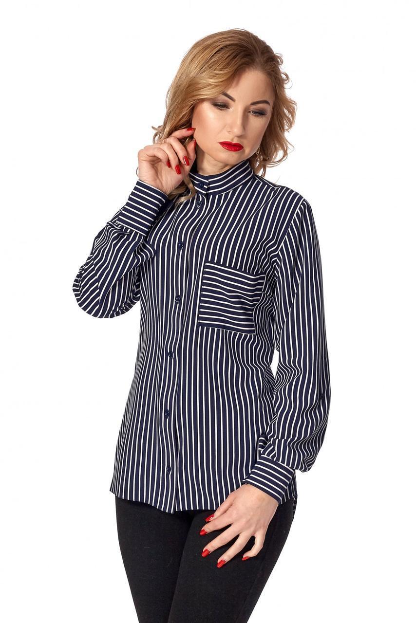 342f83bf8285 Классическая женская рубашка в полоску темно-синяя, цена 380 грн., купить в  Киеве — ...