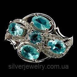 Серебряное кольцо с АПАТИТОМ (натуральный!!), серебро 925 пр. Размер 18