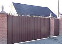 Ворота кованые закрытые профнастилом 5680
