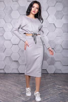 98deae74 Женский, молодёжный костюм с юбкой в спортивном стиле (эко-замша) РАЗНЫЕ ЦВ