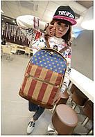 Модный рюкзак. Повседневный  рюкзак. Рюкзаки унисекс. Флаг сша и великобритании . Современный.Код: КРСК2