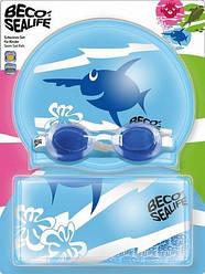 Набор для плавания BECO (шапочка+очки+рюкзачок) детский 96054 06  (голубой)