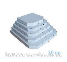 Коробка картонная под пиццу квадратная 330*330*38 мм белая, фото 2