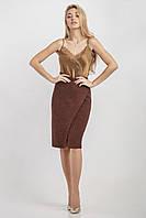 Трикотажная женская юбка на запах цвет кирпичный