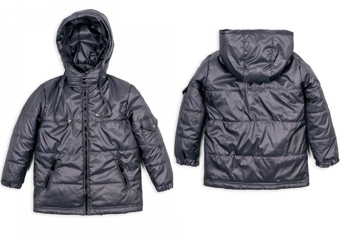 Детская куртка Пусик на мальчика 90-110 см (1-2, 2-3, 3-4 года) весна-осень (Серая)