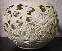 Керамика Шар ваза резная.