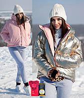 Куртка бомбер двухсторонняя глянцевая теплая oversize свободного кроя с капюшоном утеплитель Тинсулейт Gm880, фото 1