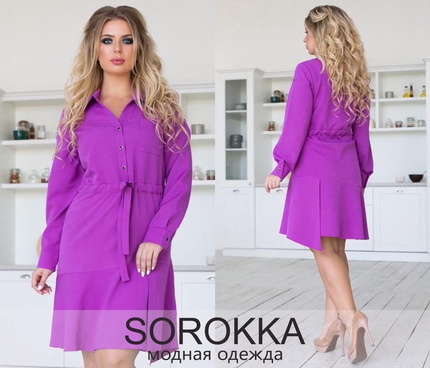 Платье больших размеров 50+ на кулиске с рубашечным воротником, асимметричного кроя / 3 цвета арт 8369-613