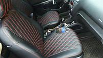 Чехлы на сиденья Ауди А4 (Audi A4) (модельные, 3D-ромб, отдельный подголовник)