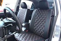 Чехлы на сиденья Ауди А4 Б7 (Audi A4 B7) (модельные, 3D-ромб, отдельный подголовник)