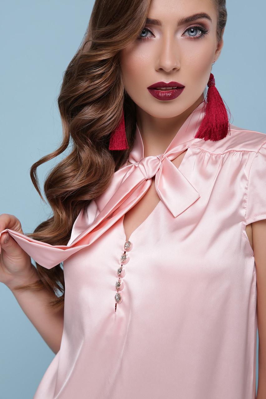 22bac341cc0 Женская персиковая шелковая блуза с бантом р.S