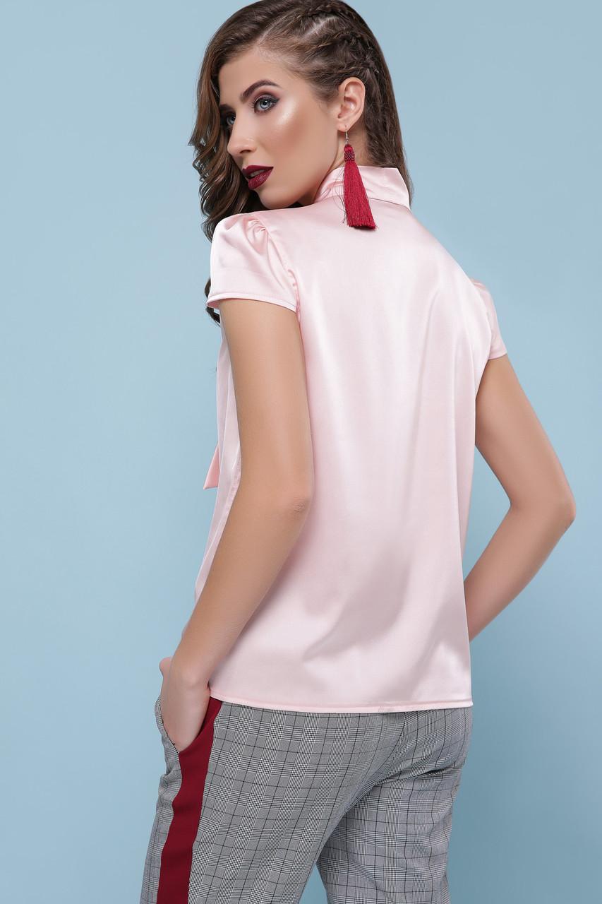 c61f2d66617 ... Женская персиковая шелковая блуза с бантом р.