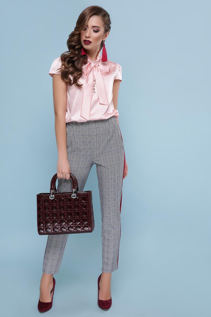 dbbfdb14239 ... Женская персиковая шелковая блуза с бантом р.S
