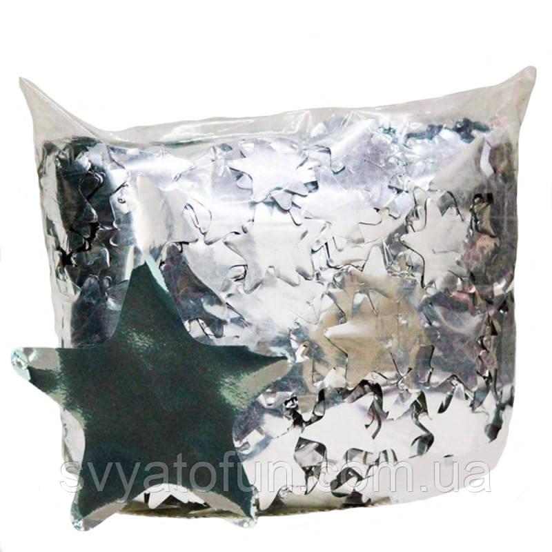 Конфетти Звездочки 35 мм, цвет серебро, 250 г.