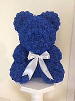 Мишка из роз 40 см синий (белый бант) 830099