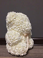 Мишка из роз 25 см белый (белый бант) 830087