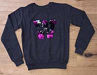 Батник детскийперевертышдля девочки, 5-8 лет, темно-серый