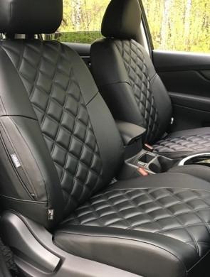 Чехлы на сиденья Субару Аутбек (Subaru Outback) (модельные, 3D-ромб, отдельный подголовник)